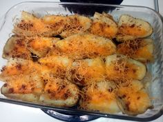 """Potato Skins! 4.69 stars, 15 reviews. """"I added cheddar cheese  and real bacon bits. Then served with sour cream. Yummy"""