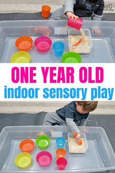 Sensory play is the work of a child. The sensory play explores sight, touch, smell, ears and sometimes even taste to develop a deeper understanding of core math and science concepts. You can start sensory play now with your one year old! Baby Sensory Play, Sensory Activities Toddlers, Montessori Activities, Infant Activities, Toddler Activities For Daycare, Edible Sensory Play, Toddler Sensory Bins, Preschool, Activities For One Year Olds