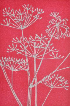 Cow Parsley Seed Heads-crimson red. Pottery Painting, Fabric Painting, Encaustic Painting, Linocut Prints, Art Prints, Block Prints, Linoprint, Guache, Sgraffito