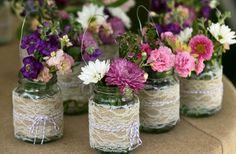 burlap lace mason jar centerpieces.