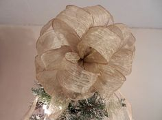 Large Champagne gold Christmas Tree topper bow by creativelycarole