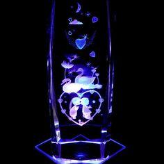 Bride Groom Swans Hearts 6 inch 3D Laser Etched Crystal Display Light Base   eBay