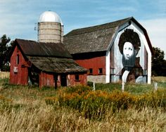 Painted Barn in Michigan On the east side of U.S. 23 near Hartland, MI. Painted by Doug Tyler based on Raphael's Castiglione. Disappeared in the mid 90's. One of the Ziggy paintings.