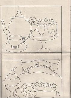 !!!!♥ Feltro-Aholic Moldes e tutoriais em feltro: Risco Cupcake para patchwork e patchapliquee Applique Templates, Applique Patterns, Applique Designs, Embroidery Applique, Machine Embroidery, Quiet Book Templates, Whole Cloth Quilts, Crazy Patchwork, Art Drawings For Kids