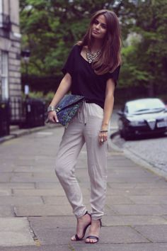 Morven Watson in 'Sunday Comfies' dressed in H joggers and necklace, Topshop tee, ASOS bag and Mango shoes.