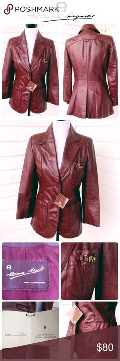 """Etienne Aigner Vintage Leather Jacket Size 8 - Fits like women's S. Signature burgundy leather.  Includes original hang tag  * 2 button closure  * 1 breast pocket w/signature """"A"""" embellishment   * 2 large front pockets w/diamond design  Gently used  * Right sleeve has 2 tiny pin holes * Minor wear marks (See pics)  Approx flat measurements: * Length 26 1/2"""" * Armpit to armpit 17"""" * Underarm to sleeve end 15""""  * Shoulder to sleeve end 22"""" * Waist 15"""" * Shoulder to shoulder seam 14""""  * 100%…"""