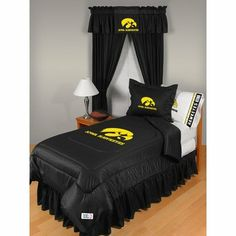 "NCAA Iowa Hawkeyes Locker Room Comforter Queen by Sports Coverage. Save 5 Off!. $75.94. NCAA Iowa Hawkeyes Locker Room Comforter Queen. Comforter Full/Queen are 86"" x 86"". Covers are 100% Polyester Jersey top side and Poly/Cotton bottom side, filled with 100% Polyester Batting. Logos are screenprinted. Machine washable in warm water, and tumble dry on low heat."