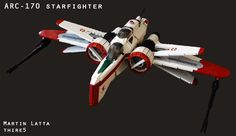 UCS Star Wars starfighter (with instructions) Lego Arc 170, Lego Star Wars, Star Trek, Legos, Star Wars Dark, Space Fighter, Lego Ship, Lego Spaceship, Star Wars Jokes