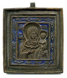 Соборная икона образок 19 века Смоленская икона божьей матери. Эмаль.