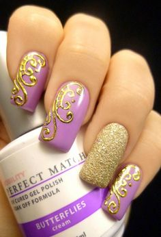 Disney Nails -                                                              Purple Butterfly Nail Design With Leopard Prints Gold-and-Purple-Butt