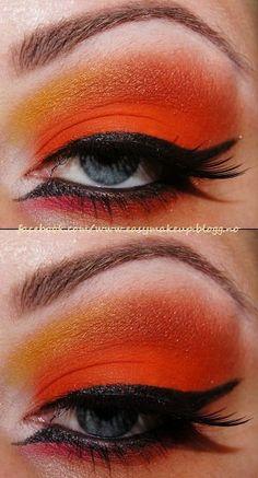 Dramatic Orange Eye Makeup