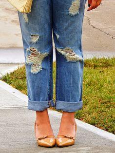 Ripped boyfriend jeans & nude heels