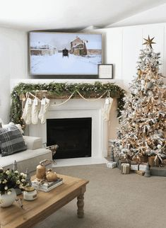 COUNTRY GIRL HOME : Christmas Home Tour 2020 Little Christmas, Christmas Home, Country Girl Home, Laying In Bed, Framed Tv, Christmas Fireplace, Hand Painted Ornaments, Wood Tree, Twinkle Lights