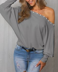 Solid Beaded One Shoulder Casual Blouse Trend Fashion, Fashion Outfits, Women's Fashion, One Shoulder Dress Long, Shoulder Tops, Hot Summer Outfits, Casual Dresses, Casual Outfits, Blouse Styles