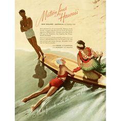 Matson Lines Surfboard Advertisement Wood Sign