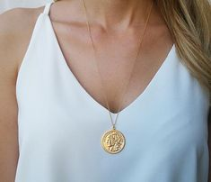 Gold Long necklace Gold coin necklace Coin pendant by HLcollection