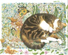 Tabby Cat Mosaic Background by Lesley Anne Ivory 1991 colour cat print Feline Print Wall Art Home Decor Vintage Print Color Print