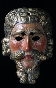 """Alvarado Mask, San Cristobal Totonicapan, Guatemala, 8.5"""", painted wood. This old Pedro Alvarado mask from the Dance of the Conquest bears the moreria mark of Pedro Antonio Tistoj Masariegos, 1912-1978. The mark is burnt in on both sides of the rear. Fine moreria masks can trace their sculptural & painting traditions back to the colonial era & are heavily influenced by European styles. Alas, carvers with this level of skill are rapidly disappearing."""