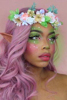 Fairy Halloween Makeup, Fairy Makeup, Elf Makeup, Halloween Makeup Looks, Mermaid Makeup, Cosplay Makeup, Halloween Kostüm, Skin Makeup, Fairy Fantasy Makeup