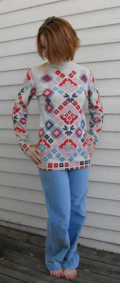 Vintage 70s Print Blouse Hippie Top XS S by soulrust on Etsy