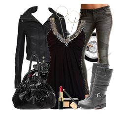 A fashion look from January 2011 featuring Agent Ninetynine jackets, Armani Exchange jeans and Dorothy Perkins boots. Browse and shop related looks. Fashion Moda, Look Fashion, Autumn Fashion, Fashion Outfits, Womens Fashion, Rebel Fashion, Rocker Chick, Rocker Style, Gemma Teller Style