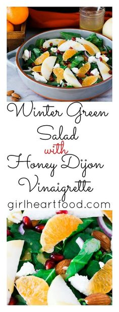 This easy Winter Green Salad is a tasty option for a quick lunch or side salad with dinner. Baby kale is topped with pomegranate arils, juicy clementine and crunchy Asian pear along with creamy goat cheese. The whole thing is topped with a super easy honey Dijon vinaigrette.  #greensalad #salad #glutenfree #vegetarian #kalesalad #lunch #wintergreen #vinaigrette #honeydijon