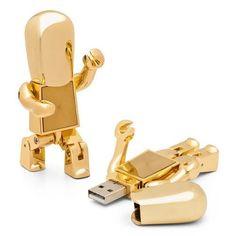 Cool metal Robot 8 GB USB Flash Drive - Golden ($11)