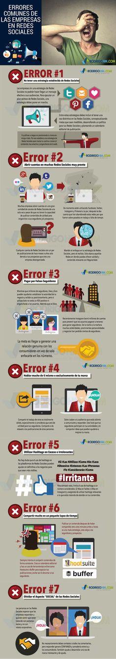 En este artículo vamos a conocer los 7 Errores habituales de Empresas en las Redes Sociales. También, por supuesto, la forma en que pueden evitarlos.