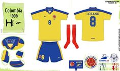 Colombia home kit for the 1998 World Cup Finals.