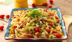 Penne Pasta Salad w/ Fresh Mozzarella and Heirloom Tomatoes - A Taste of Summer and a Glimpse of Paradise - thecafesucrefarine.com