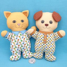 """Are you a Cat person or a Dog person or do you just love to be in your pajamas? """"Cat in Pajamas"""" and """"Dog in Pajamas"""" are Cut and Sew fat quarter projects that are available in my Spoonflower shop. Link in Profile."""