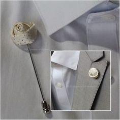 MIR Boutonniere Rose Flower Lapel Pin Mens Fashion Accessories ...
