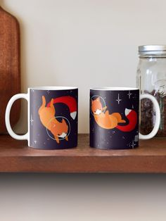 'Space Foxes' Mug by Maike Vierkant Vintage T-shirts, A Bathing Ape, Canvas Prints, Art Prints, Custom Mugs, Sell Your Art, Illustration, Samsung Galaxy, Space