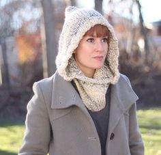 Winter Wine Hooded Cowl   This free knitting patterns simultaneously protects your head and neck from frigid temperatures.