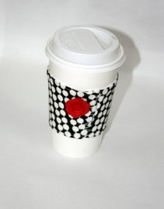 Coffee Cozy Sleeve Black White Red by mypoplin on Etsy, $6.00