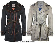 NEW LADIES PIPED BELTED MAC JACKET WOMENS CONTRAST MILITARY TRENCH COAT 8-16 in Clothes, Shoes & Accessories, Women's Clothing, Coats & Jackets | eBay
