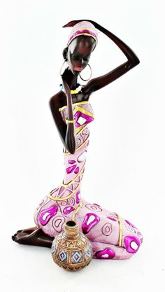 Amazon.com - Black African Lady Statue Sitting Carrying Pot Figure Ethnic Decor Art X63532 -