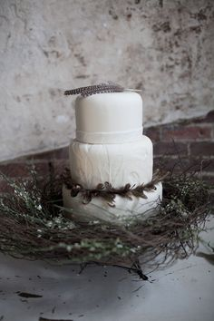 Feathers on cake, bird sanctuary wedding