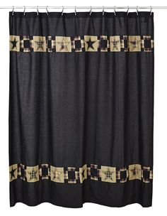 Black Star Shower Curtain Primitive Bathroom Decor Patchwork Fabric Revere for sale online Primitive Homes, Primitive Bathrooms, Country Primitive, Country Bathrooms, Vintage Bathrooms, Black Shower Curtains, Bathroom Curtains, Fabric Shower Curtains, Bathroom Wall