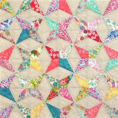 Kaleidescope Foundation Paper Pieced Cushion or Mini Quilt PDF Pattern - Tied with A Ribbon