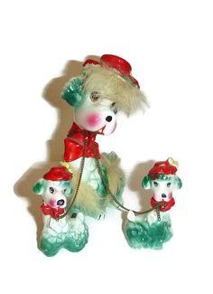 Japanese Kitsch   Vintage Kitsch Poodle Family 50s Japan Collectible Porcelain Dog ...