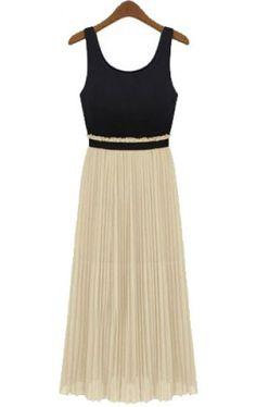Black + Neutral pleated dress //
