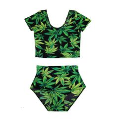 Matching bikini swimsuit / crop top and bottoms set with digital weed leaf print! Can be worn together or separately. Size: One Size, fits small to medium Material: Polyester Colour: Green Garment Care: Hand-wash Only · High waisted bikini bottoms · Scoop neckline crop top with cap s...
