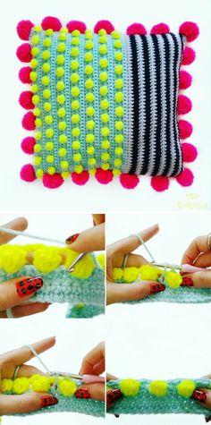 Crochet Pattern: Free Bobble Stitch Cushion Tutorial!