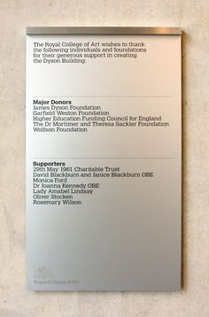 How Endpoint developed the latest wayfinding signage for the prestigious design school, the Royal College of Art, in central London Wayfinding Signage, Signage Design, Donor Wall, Royal College Of Art, Environmental Graphics, School Design, Wall Decor, Detail, Signs