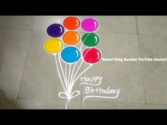 Kids birthday special quick and attractive Rangoli Indian Rangoli Designs, Rangoli Ideas, Kolam Rangoli, Beautiful Rangoli Designs, Simple Rangoli, Colored Rice, Flower Decorations, Art Forms, Balloons