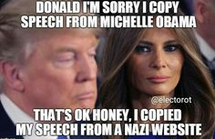 Donald, I;m sorry I copy speech from Michelle Obama. That's okay honey, I copied my speech from a Nazi website.