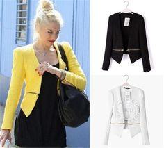3 Color New Fashion Candy Fashion Slim Lady Women Padded Suit Coat Blazer Jacket