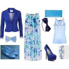 """Blue, Blue, and more Blue."" by kdanibragg on Polyvore"
