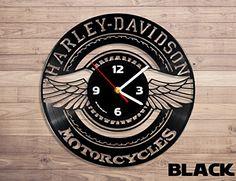 Harley davidson motorcycle vinyl record wall clock